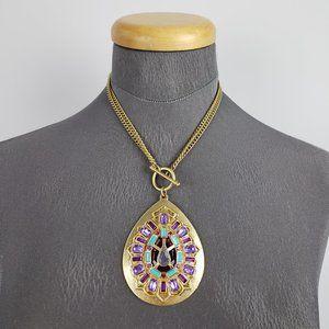 Jewelry - Gold & Purple Statement Necklace